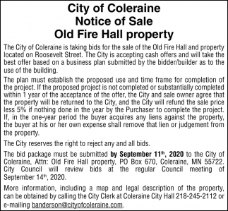 Notice Of Sale Old Fire Hall Property