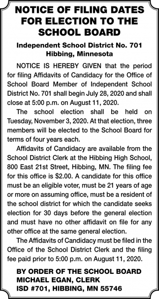 Notice Of Filing Dates For Election To The School Board