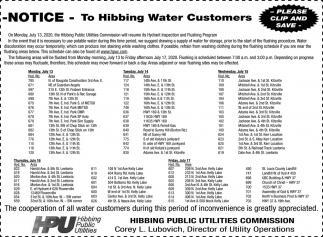 Notice - To Hibbing Water Customers