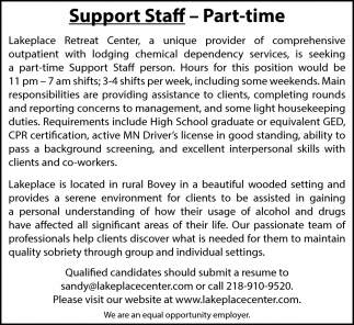 Support Staff - Part Time