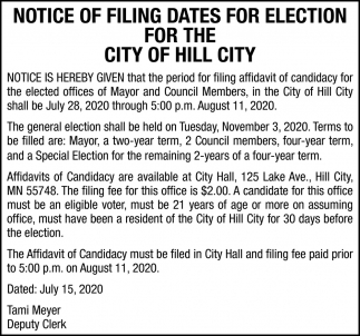 Notice Of Filing Dates For Election For The City Of Hill City