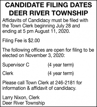 Candidate Filing Dates Deer River Township