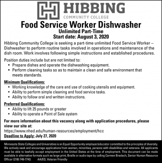 Food Service Worker Dishwasher