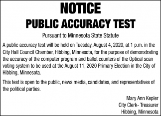 Notice Public Accuracy Test