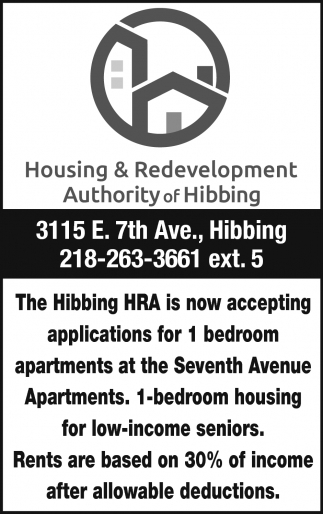 The Hibbing HRA Is Now Accepting Applications For 1 Bedroom Apartments