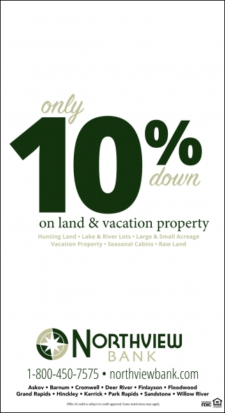 Only 10% Down On Land & Vacation Property