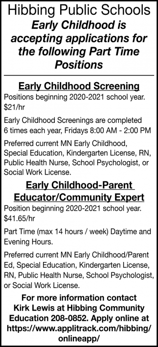 Early Childhood Is Accepting Applications For The Following Part Time Positions