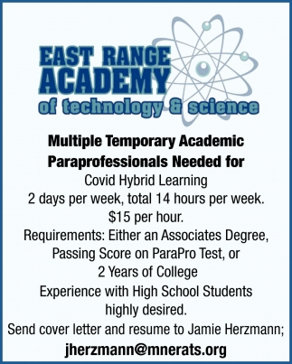 Multiple Temporary Academic Paraprofessionals Needed For Covid Hybrid Learning