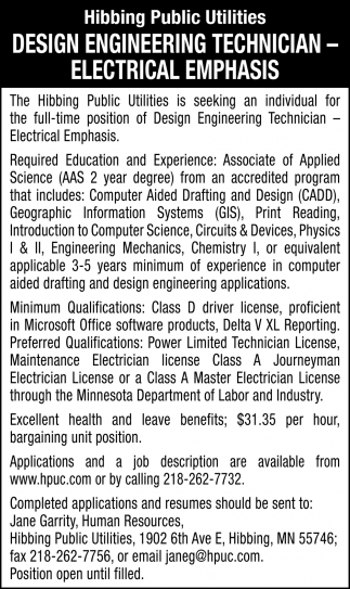 Design Engineering Technician - Electrical Emphasis