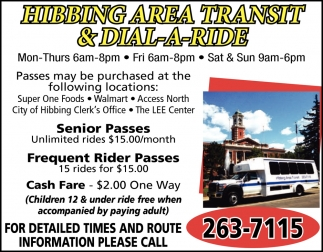 For Detailed Times And Route Information Please Call