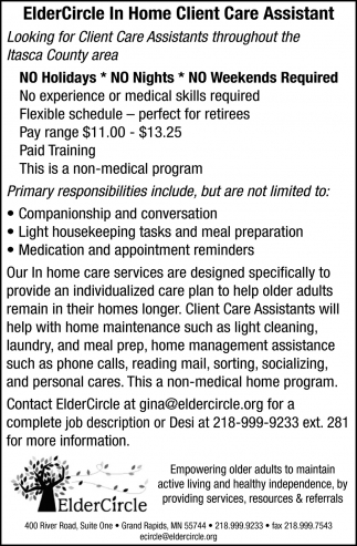 ElderCircle In Home Client Care Assistant