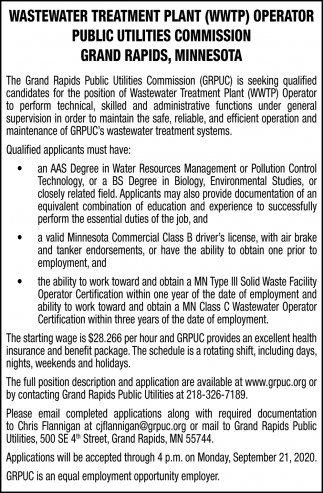 Wastewater Treatment Plant (WWTP) Operator Public Utilities Commission Grand Rapis, Minnesota