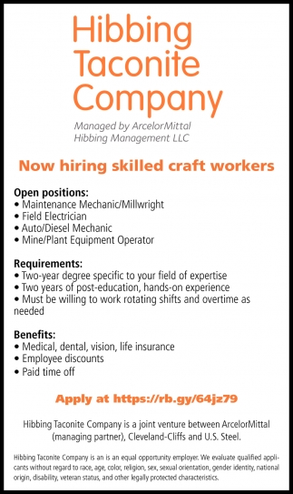 Now Hiring Skilled Craft Workers
