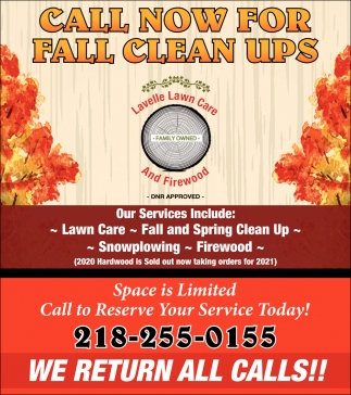 Call Now For Fall Clean Ups