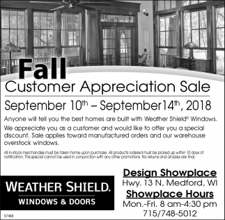 Fall Customer Appreciation Sale Weather Shield Windows And Doors Medford Medford Wi