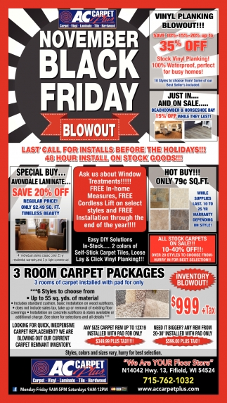 Black Friday Ac Carpet Plus Fifield Wi