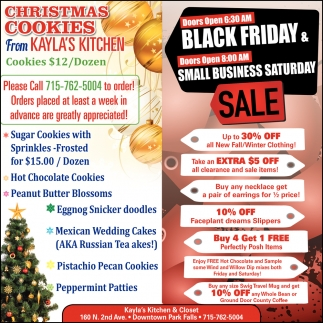 Black Friday Small Business Saturday Sale Kayla S Kitchen And Closet Ashland Wi