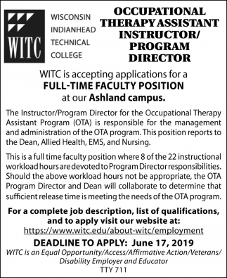Occupational Therapy Assistant Instructor/Program Director
