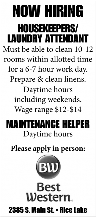 Housekeepers / Laundry Attendant / Maintenance Helper