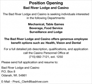 Mechanical, Table Games, Beverage, Food Service, Surveillance, Lodge