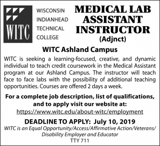Medical Lab Assistant Instructor