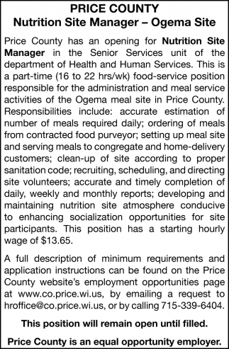 Nutrition Site Manager