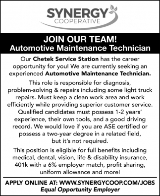 Automotive Maintenance Technician