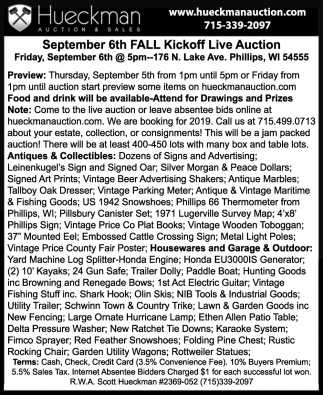 September 6th Fall Kickoff Live Auction