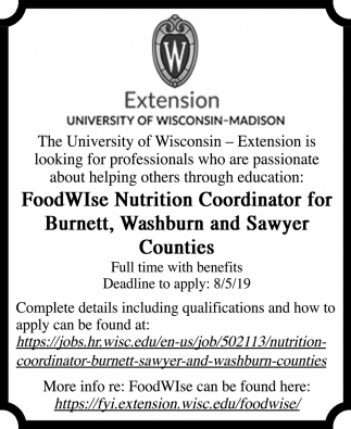 FoodWIse Nutrition Coordinator for Burnett, Washburn and Sawyer COunties