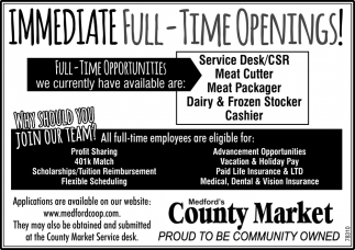 Service Desk, Meat Cutter, Meat Packager, Dairy, Frozen Stocker, Cashier
