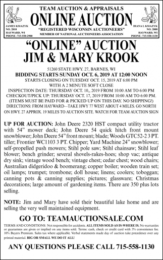 Online Auction Jim & Mary Krook