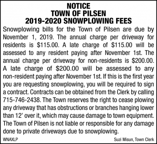 2019-2020 Snowplowing Fees