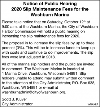 2020 Slip Maintenance Fees for the Washburn Marina