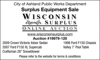 City of Ashland Public Works Department Surplus Equipment Sale