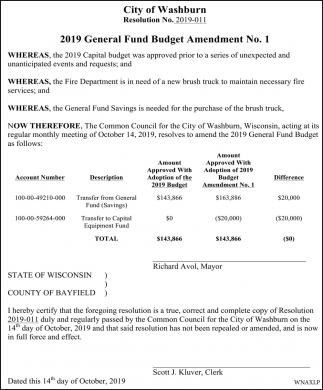 2019 Harbor Commission Budget Amendment No 1