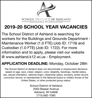 2019-20 School Year Vacancies
