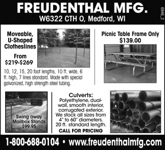Moveable, U-Shaped Clotheslines - Picnic Table Frame - Culverts