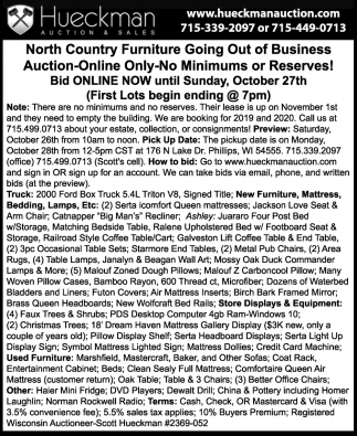 North Country Furniture Going Out of Business Auction Online