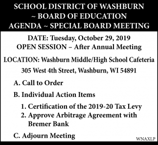 Board of Education Agenda, Special Board Meeting
