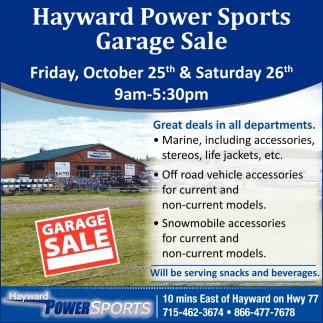 Hayward Power Sports Garage Sale