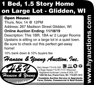 1, Bed, 1.5 Story Home on Large Lot