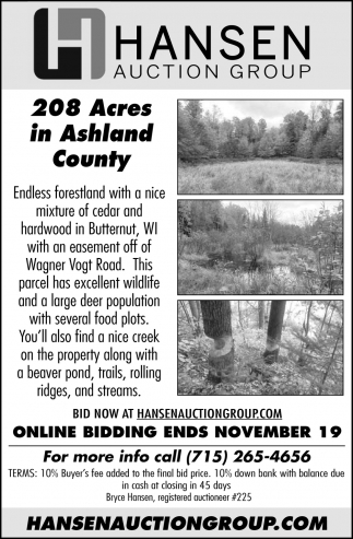 208 Acres in Ashland County