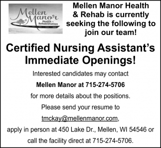 Certified Nursing Assistant's
