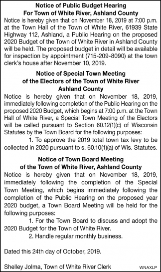 Notice of Public Budget Hearing
