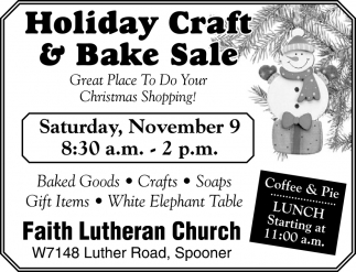 Holiday Craft & Bake Sale