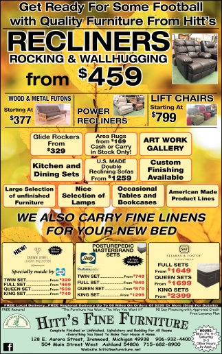 Recliners, Wood Rockers, Dining, Bedding