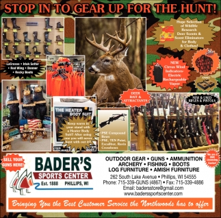 Outdoor Gear, Guns, Ammunition, Archery, Fishing, Boots, Log Furniture, Amish Furniture