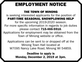 Part-time seasonal snowplowing help