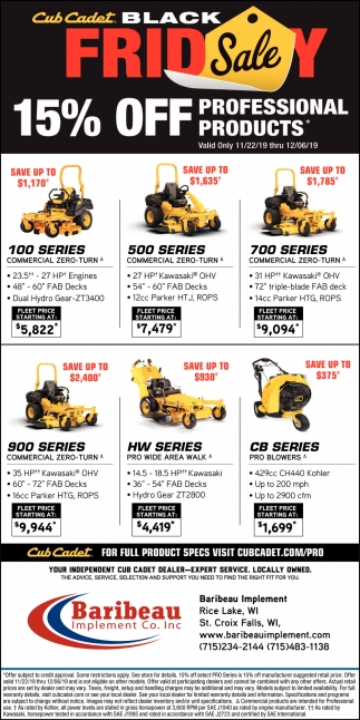 Cub Cadet Black Friday Sale