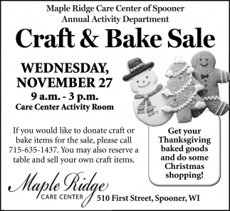 Craft & Bake Sale